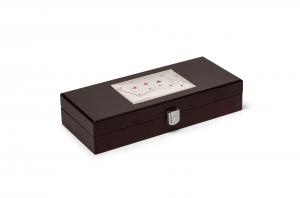 Cofanetto porta carte da gioco e dadi con coperchio in Argento cm.28x12x5,5h