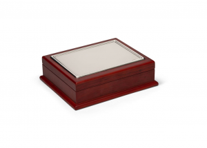 Cofanetto porta carte da gioco con coperchio in argento cm.22x18x6h