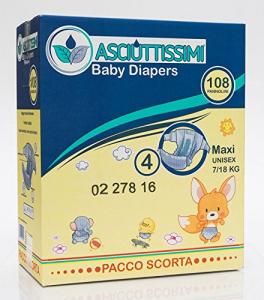 Pannolino Asciuttissimi Baby – tg. 4 (7/18 kg) – pacco scorta (108pz)