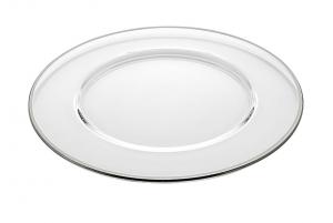 Sottopiatto in vetro con bordo platino cm.diam.32
