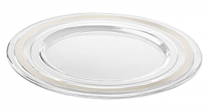 Sottopiatto in vetro con fascia platino cm.diam.32
