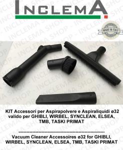 KIT Accessori  Aspirapolvere ø32 valido per GHIBLI, TMB, SYNCLEAN, WIRBEL, ELSEA, TASKI PRIMAT