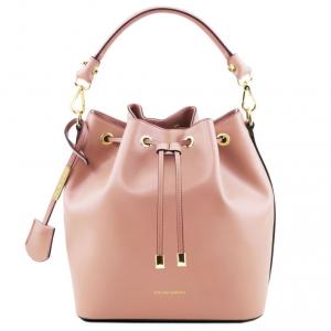 Tuscany Leather TL141531 Vittoria - Borsa secchiello da donna in pelle Ballet Pink