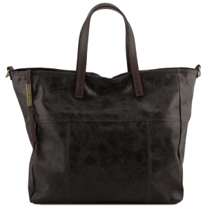 Tuscany Leather TL141552 Annie - Borsa shopping TL SMART in pelle effetto invecchiato Nero