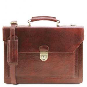 Tuscany Leather TL141732 Cremona - Cartella in pelle 3 scomparti Marrone