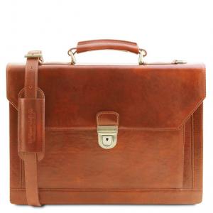 Tuscany Leather TL141732 Cremona - Cartella in pelle 3 scomparti Miele