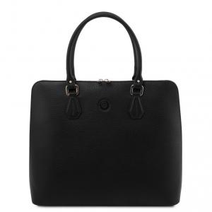 Tuscany Leather TL141809 Magnolia - Borsa business in pelle per donna Nero