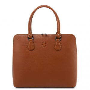 Tuscany Leather TL141809 Magnolia - Borsa business in pelle per donna Cognac