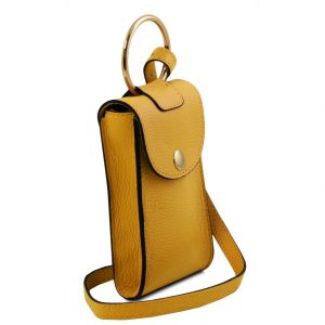 Tuscany Leather TL141865 TL Bag - Tracollina Portacellulare in pelle Senape