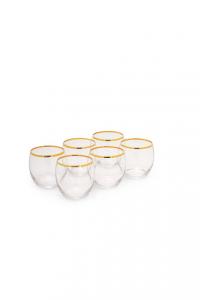 Bicchiere Acqua in vetro con bordo filo Filo Oro CL 34 confezione 6 pezzi cm.8,3h diam.7,9