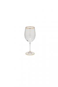 Calice in vetro Vino rosso con bordo in filo oro CL 48 cm.21,9h diam.7