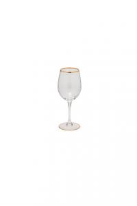 Calice in vetro Vino bianco con bordo in filo oro zecchino CL 36 stile Filo stile Filo Oro cm.20,2h diam.6,2