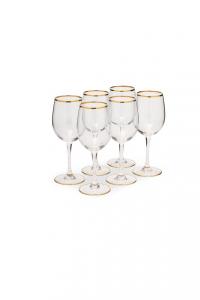 Calice in vetro Vino bianco con bordo in filo oro zecchino CL 36 confezione 6 pezzi stile Filo Oro cm.20,2h diam.6,2