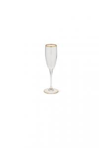 Calice Flute Champagne Prosecco in vetro con bordo in filo oro zecchino CL 19 stile Filo Oro cm.22,5h diam.5