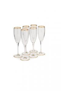Calice Flute Champagne Prosecco in vetro con bordo in filo oro zecchino CL 19 confezione 6 pezzi stile Filo Oro cm.22,5h diam.5