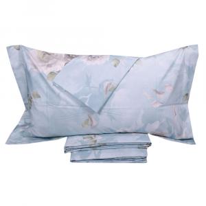 Set lenzuola-copriletto matrimoniale MIRABELLO PRECIOUS ROSE azzurro