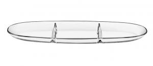 Antipastiera in vetro tre settori cm.41x21,5x3h