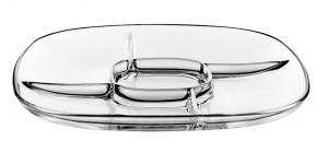 Antipastiera in vetro 5 settori cm.31x31x2h