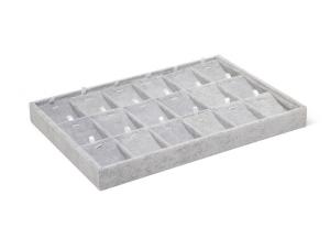 Espositore a cassetti per gioielli in velluto grigio cm.35x24x3h