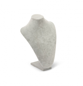 Busto espositore per collane in velluto grigio cm.24x31h