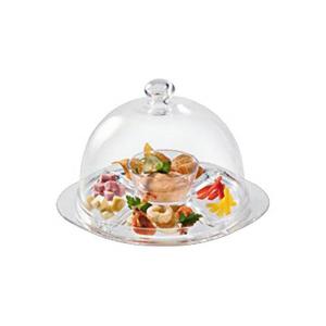 Piatto torta antipastiera in vetro multiuso con campana cm.36h diam.32