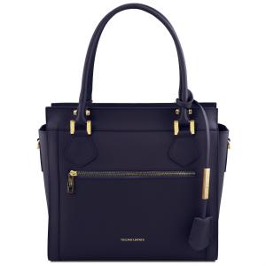Tuscany Leather TL141644 Lara - Leather handbag with front zip Dark Blue