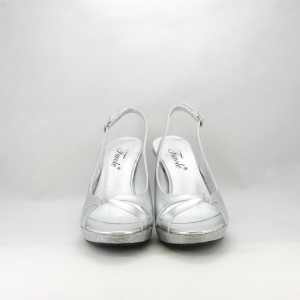 Sandalo cerimonia donna elegante argento lamè e glitter con cinghietta regolabile.