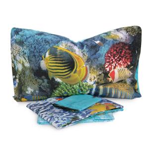 Completo lenzuola Copriletto Matrimoniale Pesci e Stelle Marine digitale