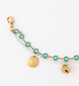 Bracciale doppio in ottone galvanizzato con ciondoli mare e perline