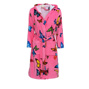 Women's Bathrobe with Hood Fantasy BUTTERFLY Fuchsia background M