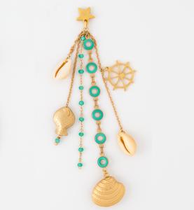 Orecchini chandelier in ottone galvanizzato con ciondoli marini