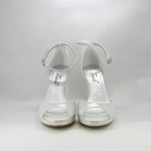 Sandalo cerimonia donna spuntato in tessuto avorio/argento effetto lamè.
