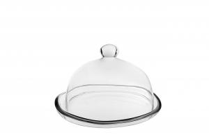 Piatto con campana in vetro cm.18h diam.28