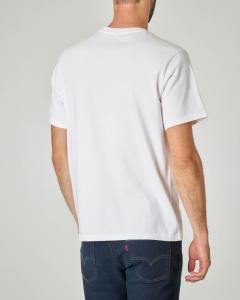 T-shirt bianca con logo ricamato tono su tono