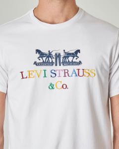 T-shirt bianca con logo anni '90 multicolor