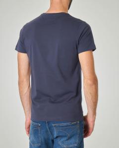 T-shirt blu con logo monogramma originale