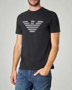 T-shirt nera con logo aquila ricamato
