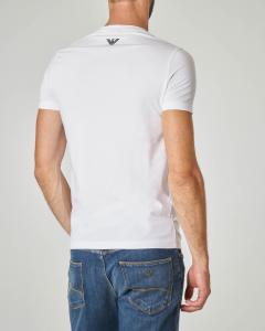 T-shirt bianca in cotone stretch con logo stampato