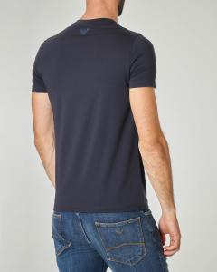 T-shirt blu in cotone stretch con logo stampato