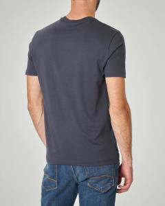 T-shirt blu con logo e aquila grandi gommati