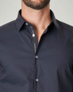Camicia blu in popeline stretch di cotone
