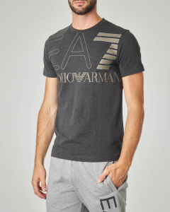 T-shirt grigia antracite con logo EA7 grande su petto e spalle