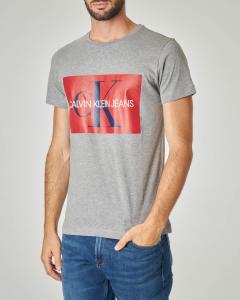 T-shirt grigia con logo monogramma originale