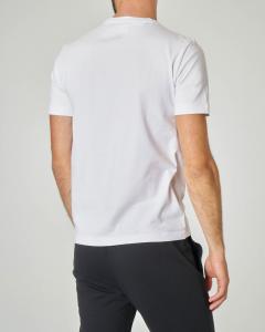 T-shirt bianca in cotone stretch con fascia nera e aquila stampata