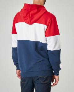 Felpa tricolore rossa bianca e blu con cappuccio