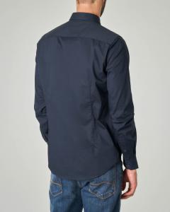 Camicia blu in popeline stretch