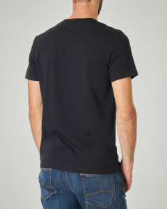 T-shirt nera con fascia patch e logo stampati