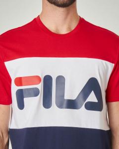 T-shirt tricolore rossa bianca e blu con logo