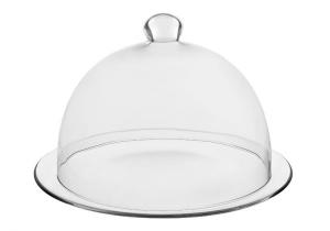 Piatto dolce con campana in vetro cm.21,5h diam.33