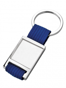 Portachiavi in tessuto blu cm.8,7x3,5x0,7h